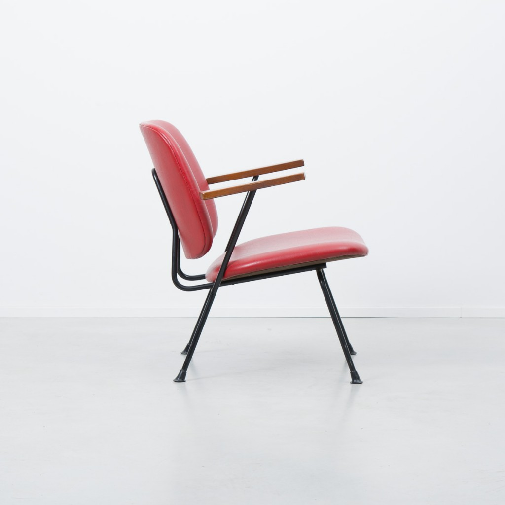 Red WH Gispen Kembo chair 1954