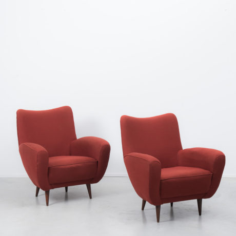 Pair of red Italian armchairs