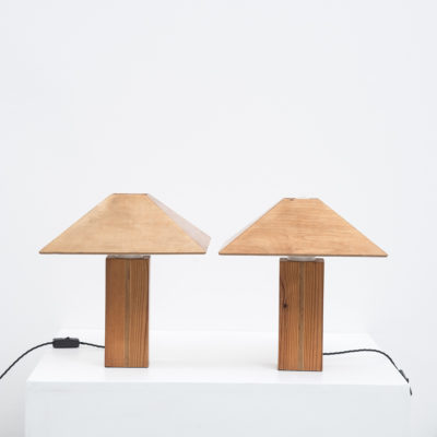 Pair of 1950s plywood Conran att. lamps-1