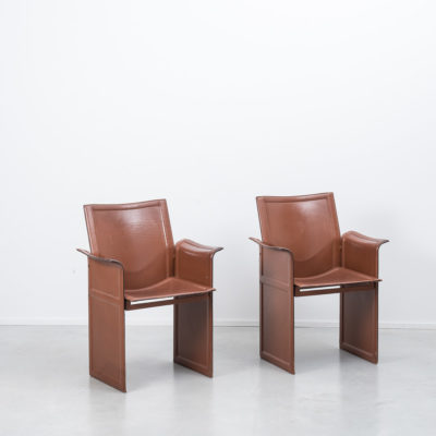 Tito Agnoli Korium chairs in burgundy leather