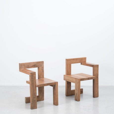 Pair Gerrit Rietveld wooden Steltman chairs