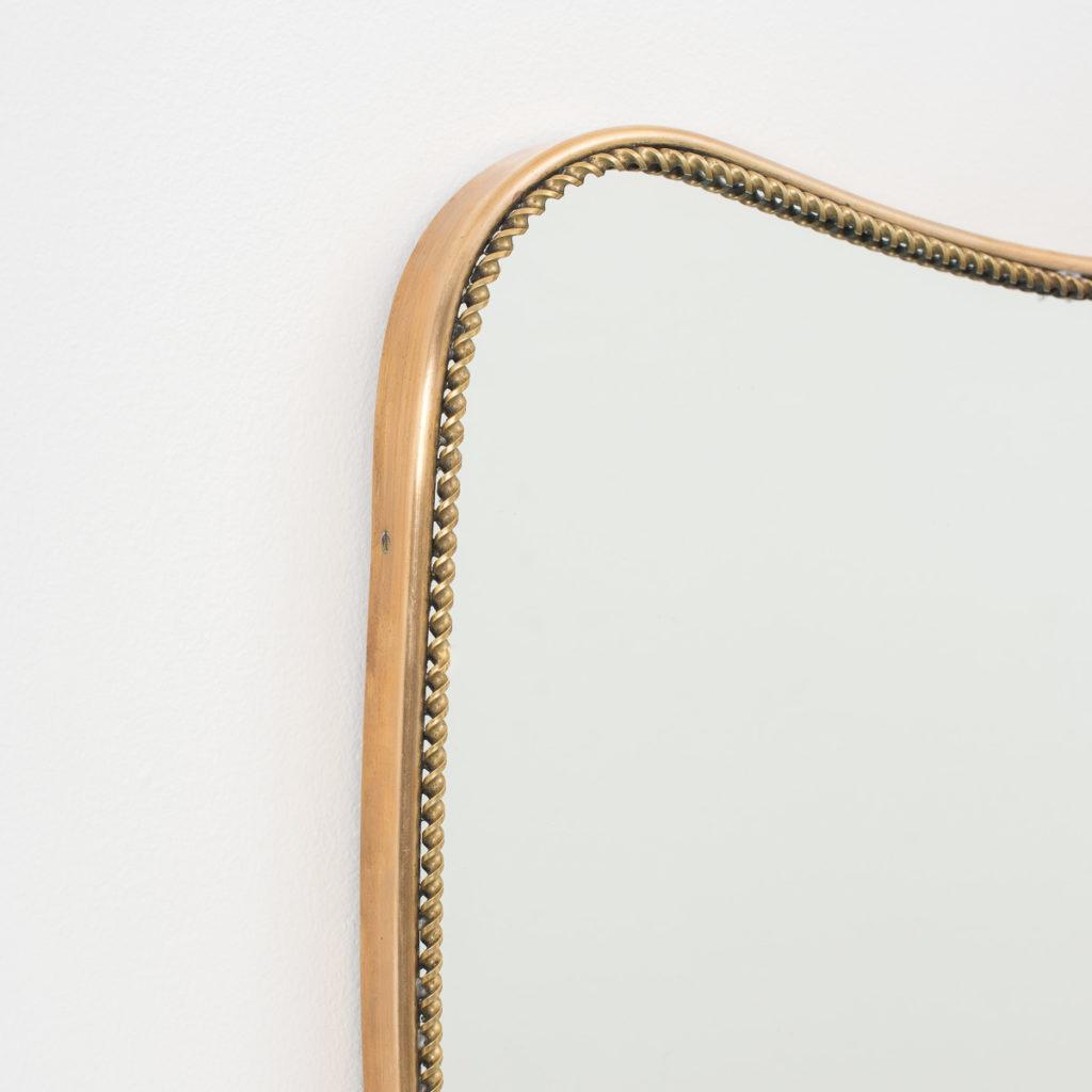 1950s italian brass heart mirror