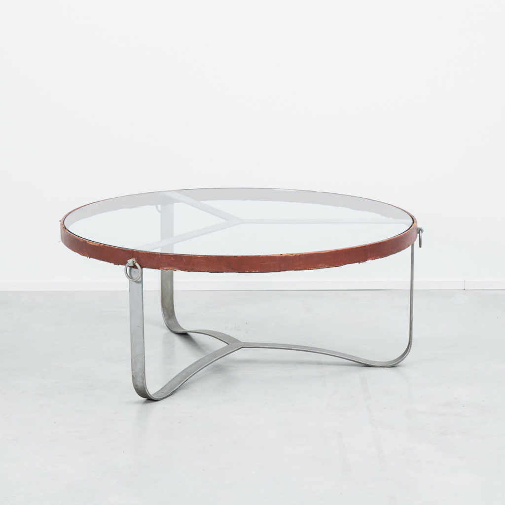 Jacques Adnet leather coffee table