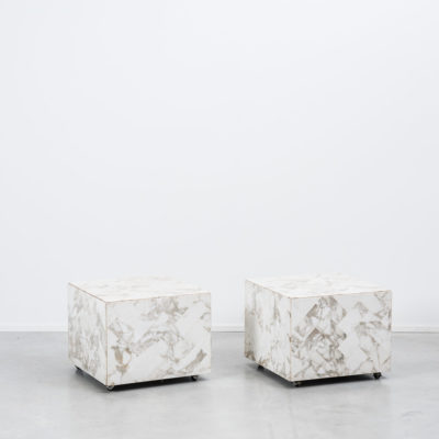 Pair Marble bedside tables on wheels