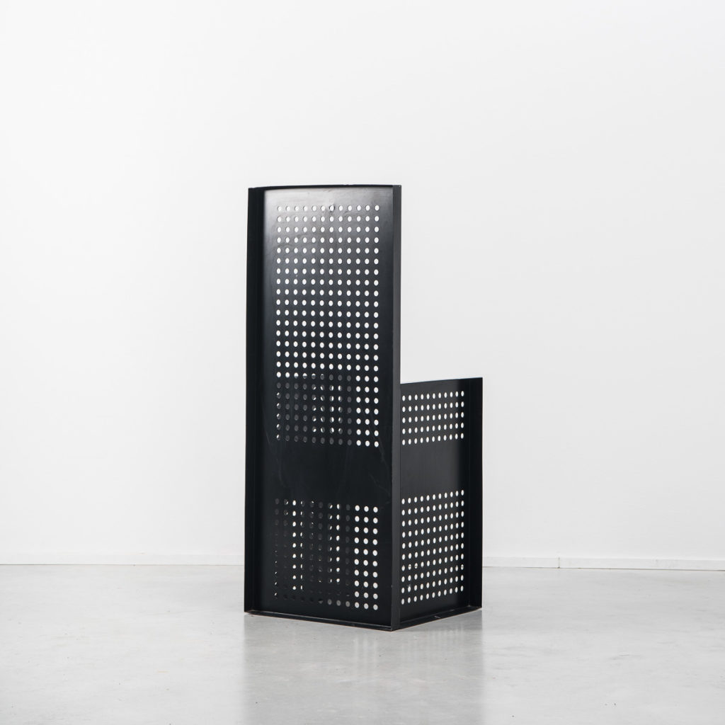Black metal perforated chair