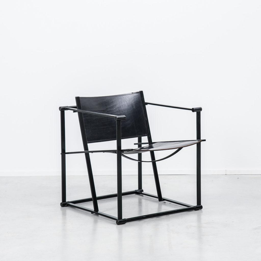 Radboud Van Beekum FM60 Black Leather Cube Chairs