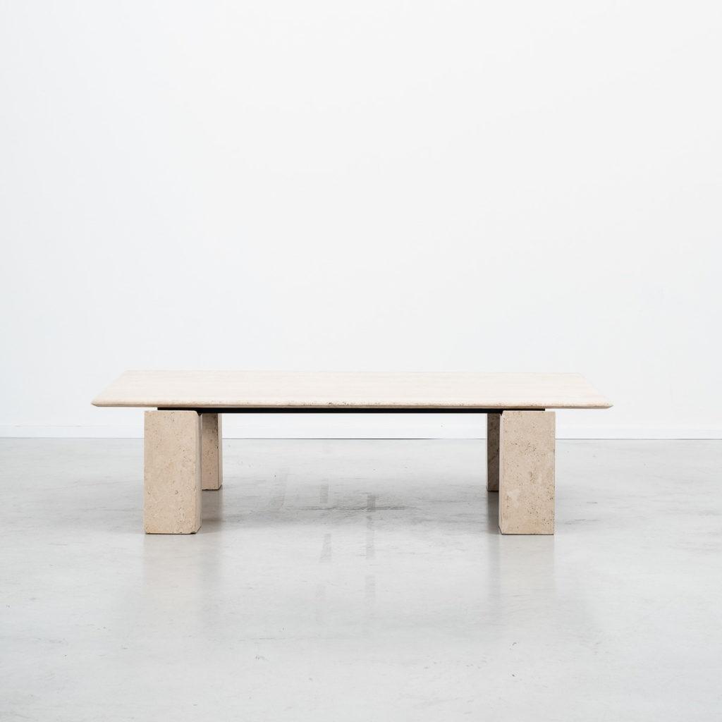 Rectangular travertine coffee table