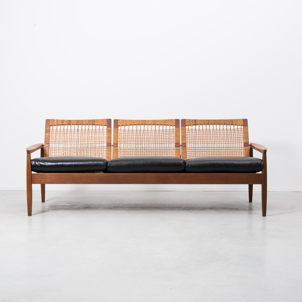 Hans Olsen rattan backed sofa