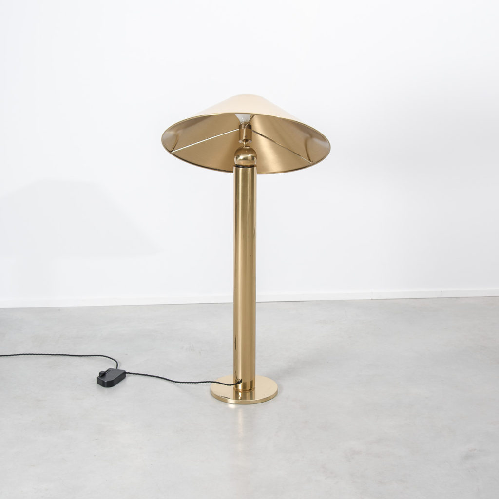 Midcentury conical brass floor lamp