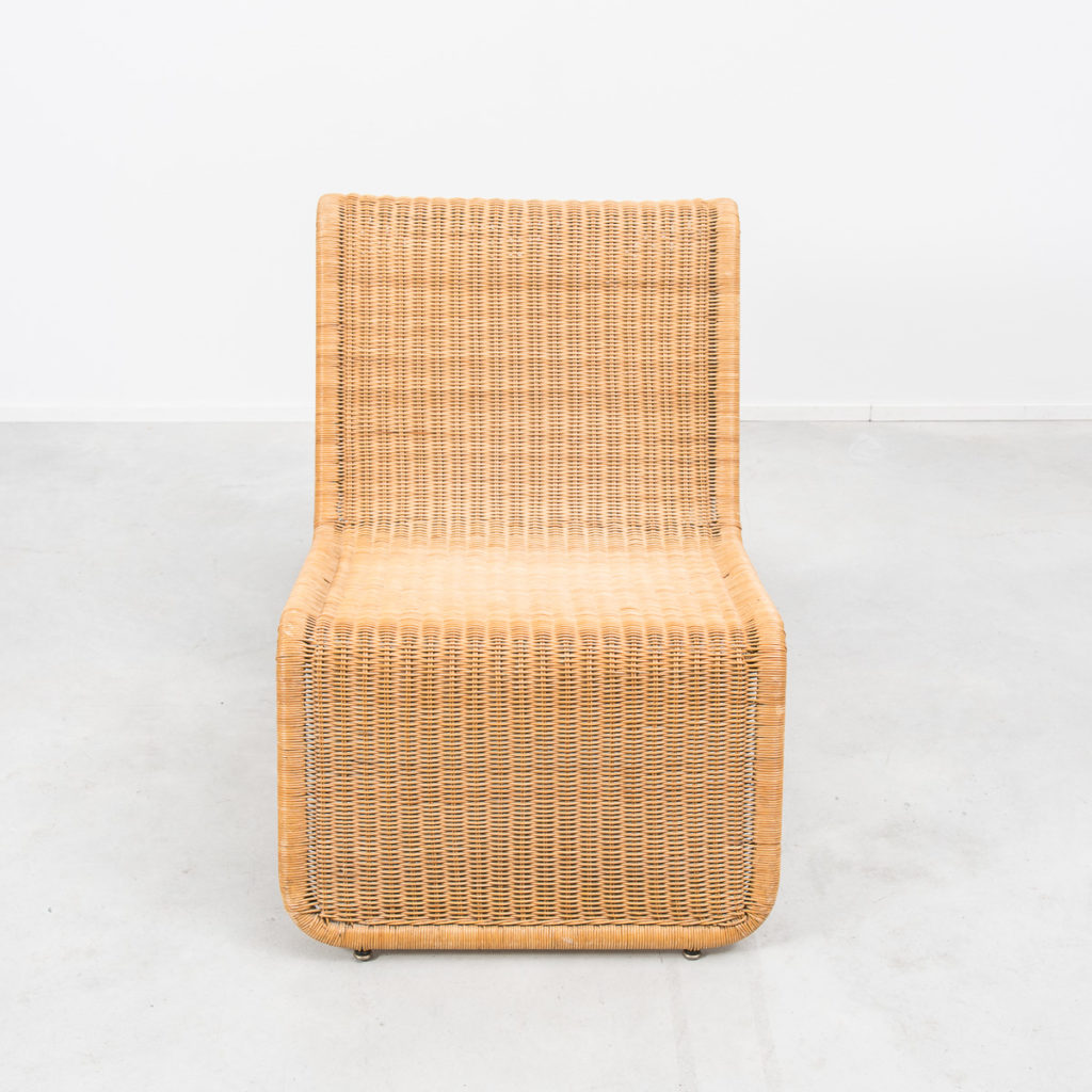 Rattan easy chair after Tito Agnoli