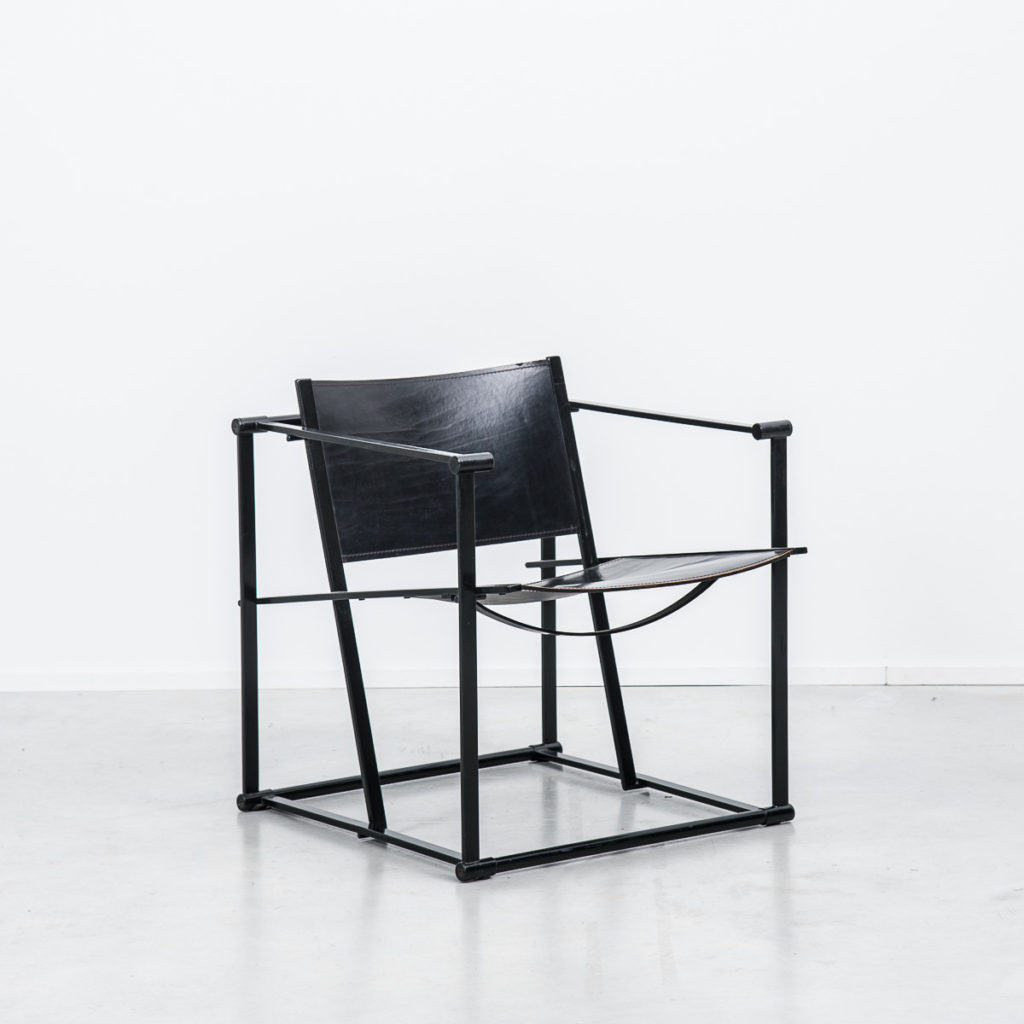 Radboud Van Beekum FM60 Black Leather Cube Chairs
