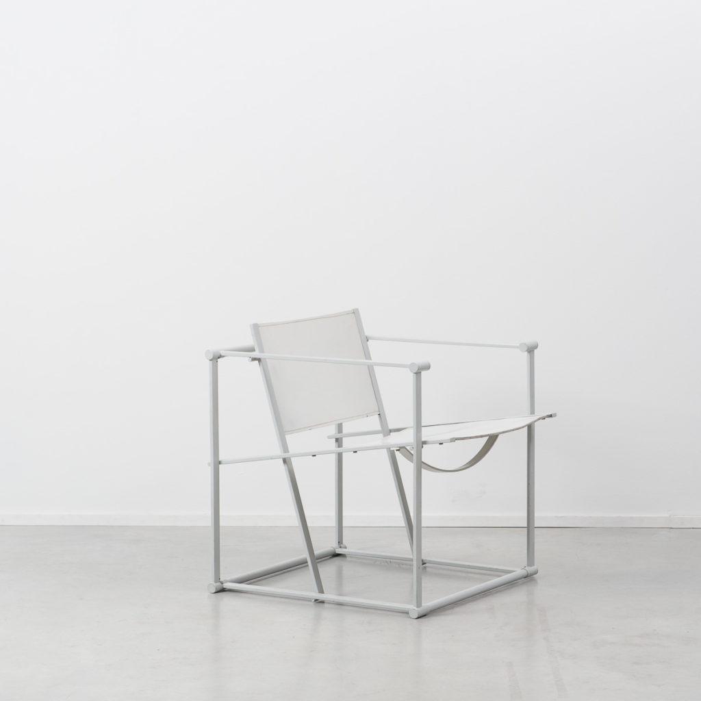 Radboud Van Beekum White Leather Cube Chair B 233 Ton Brut