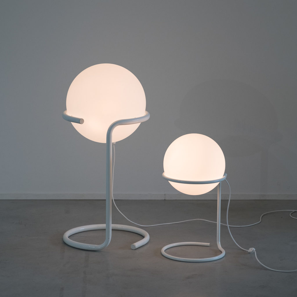A pair of opaline globe lamps