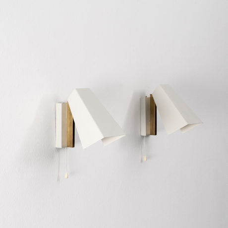 Midcentury metal and brass wall lamps