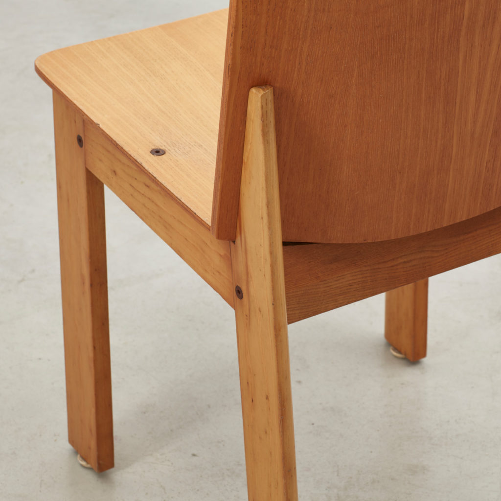 Set of four plywood chairs