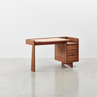 Guillerme and Chambron desk, 1950s oak desk, 1960s french desk, bureau de Guillerme et Chambron