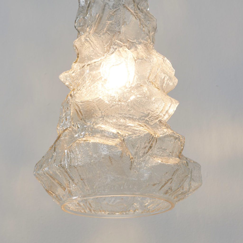 Glacial cast glass pendant