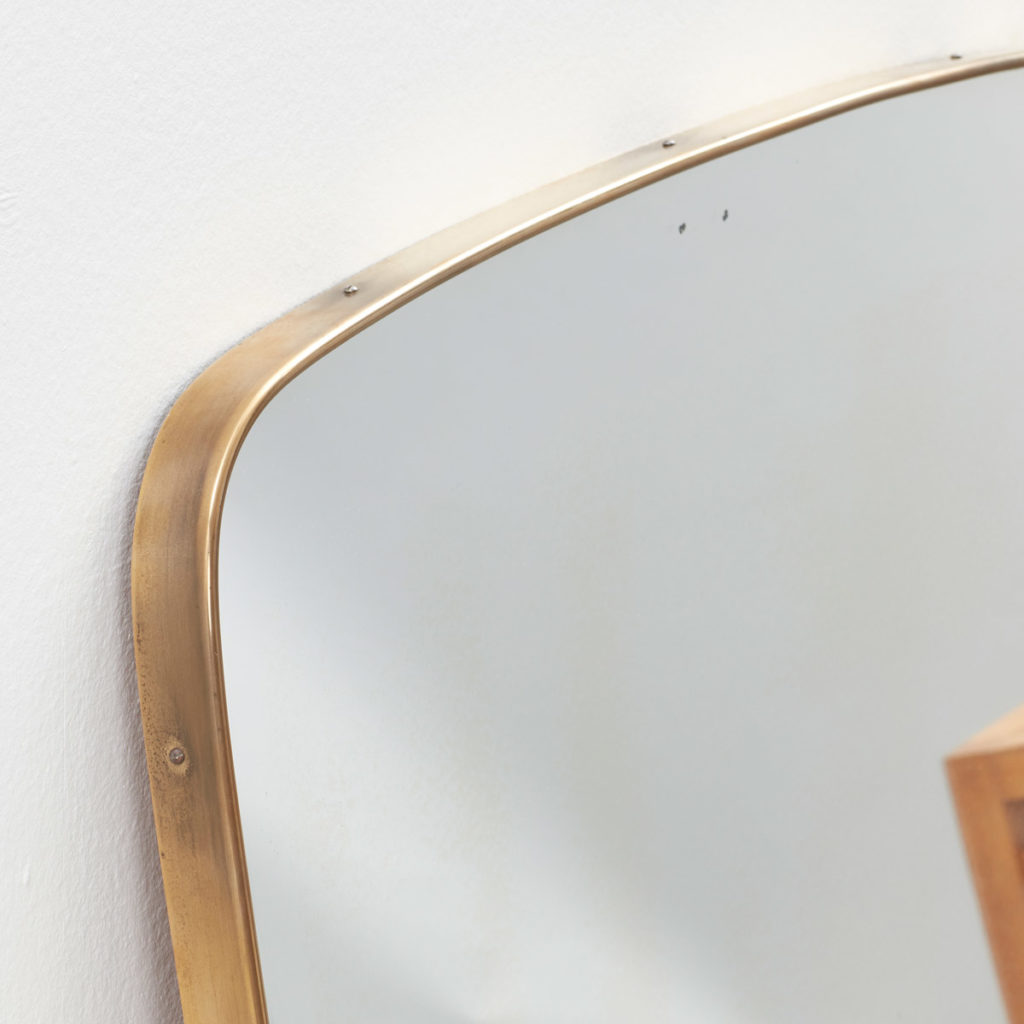 Large 1950s Italian brass mirror
