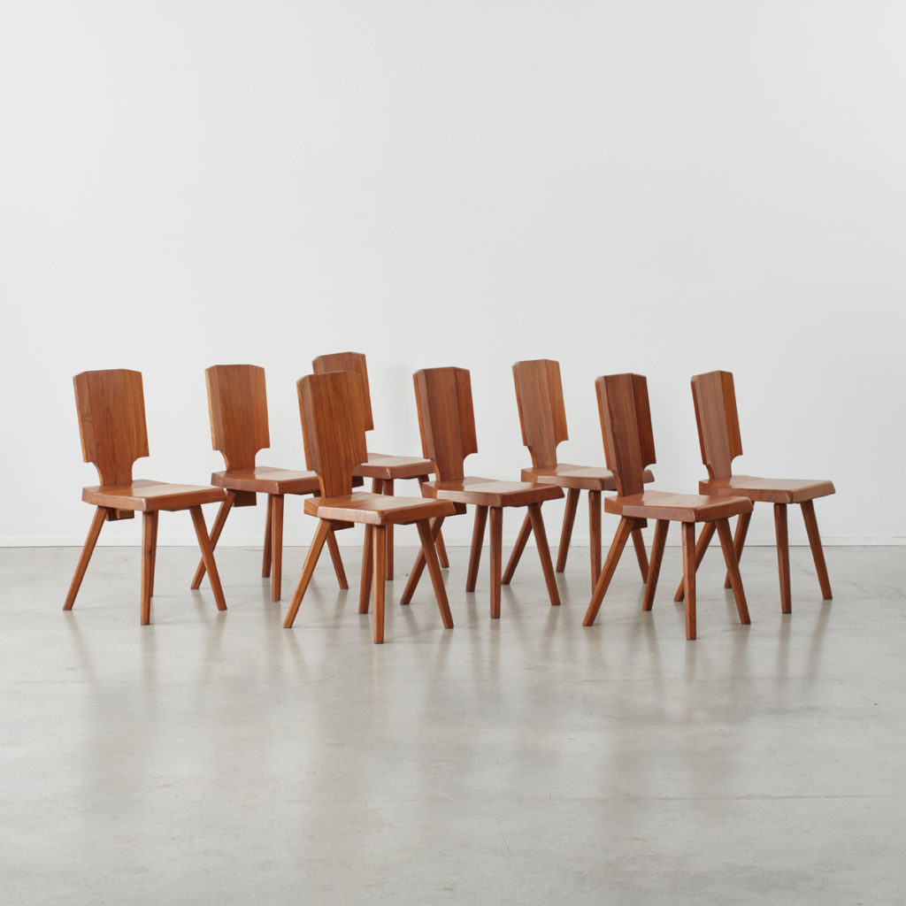 Set of 12 S28 Pierre Chapo dining chairs