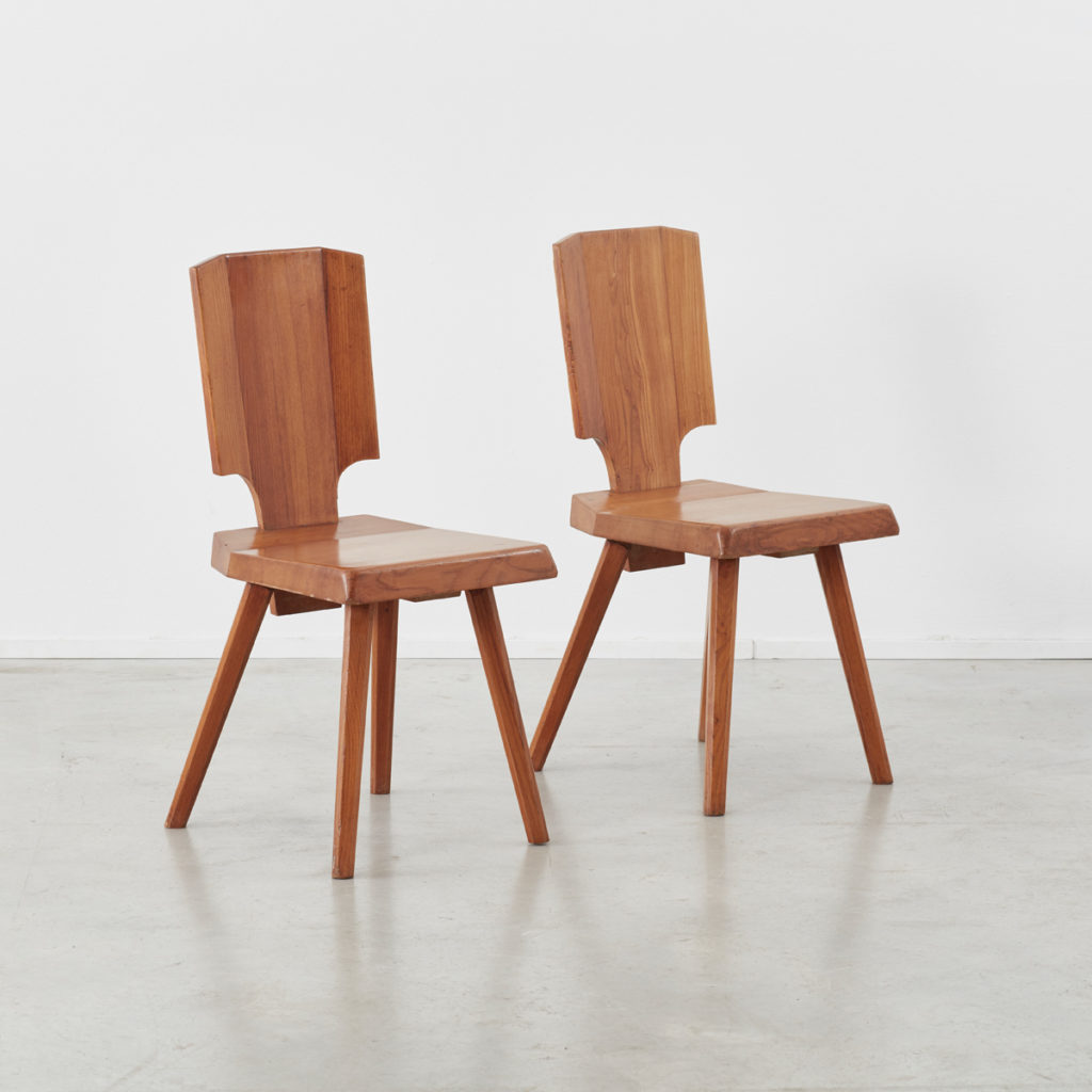 Set of 4 S28 Pierre Chapo dining chairs