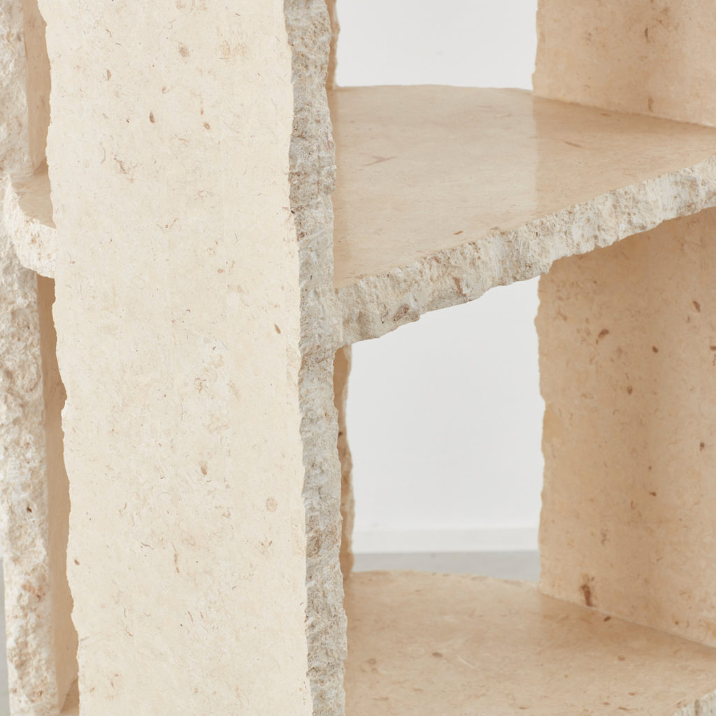 Travertine shelving unit