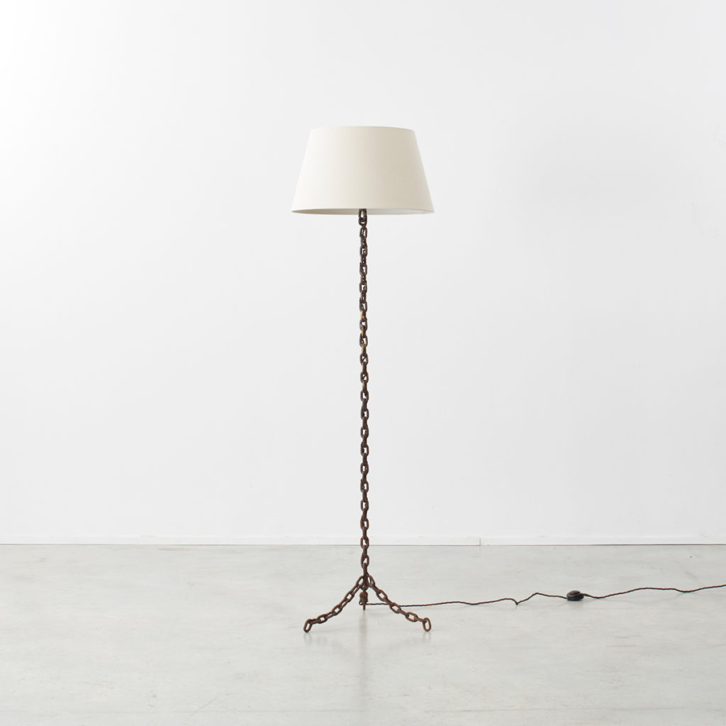 French iron chain-link floor lamp