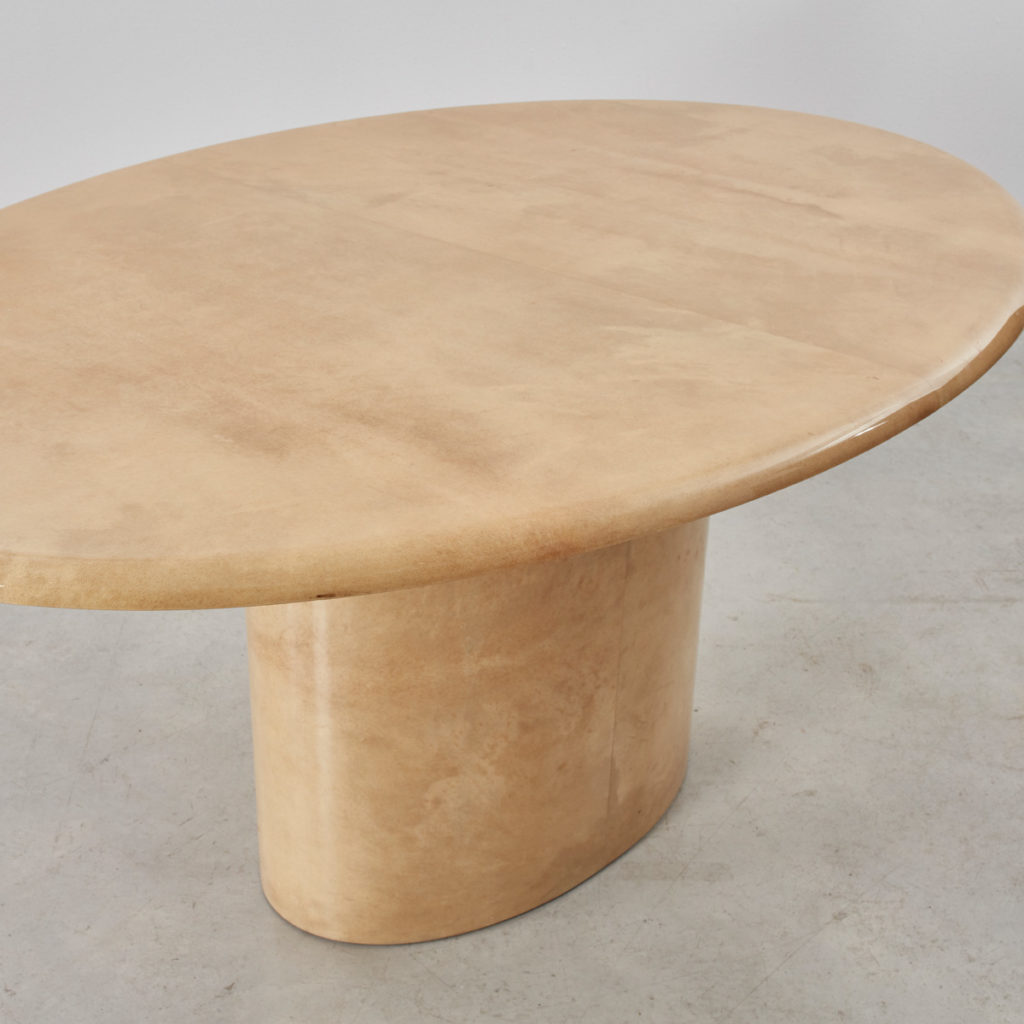 Aldo Tura lacquered goatskin oval table