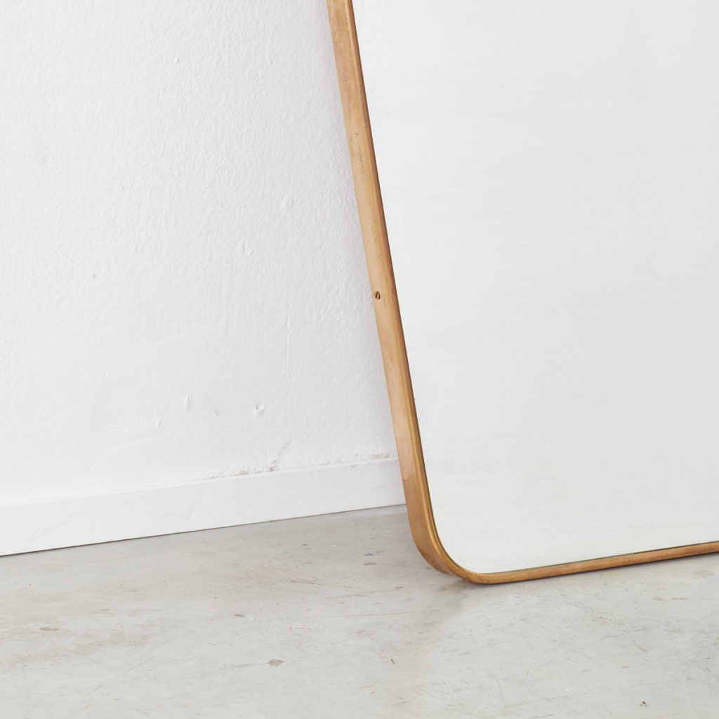 Medium 1950s Italian brass mirror