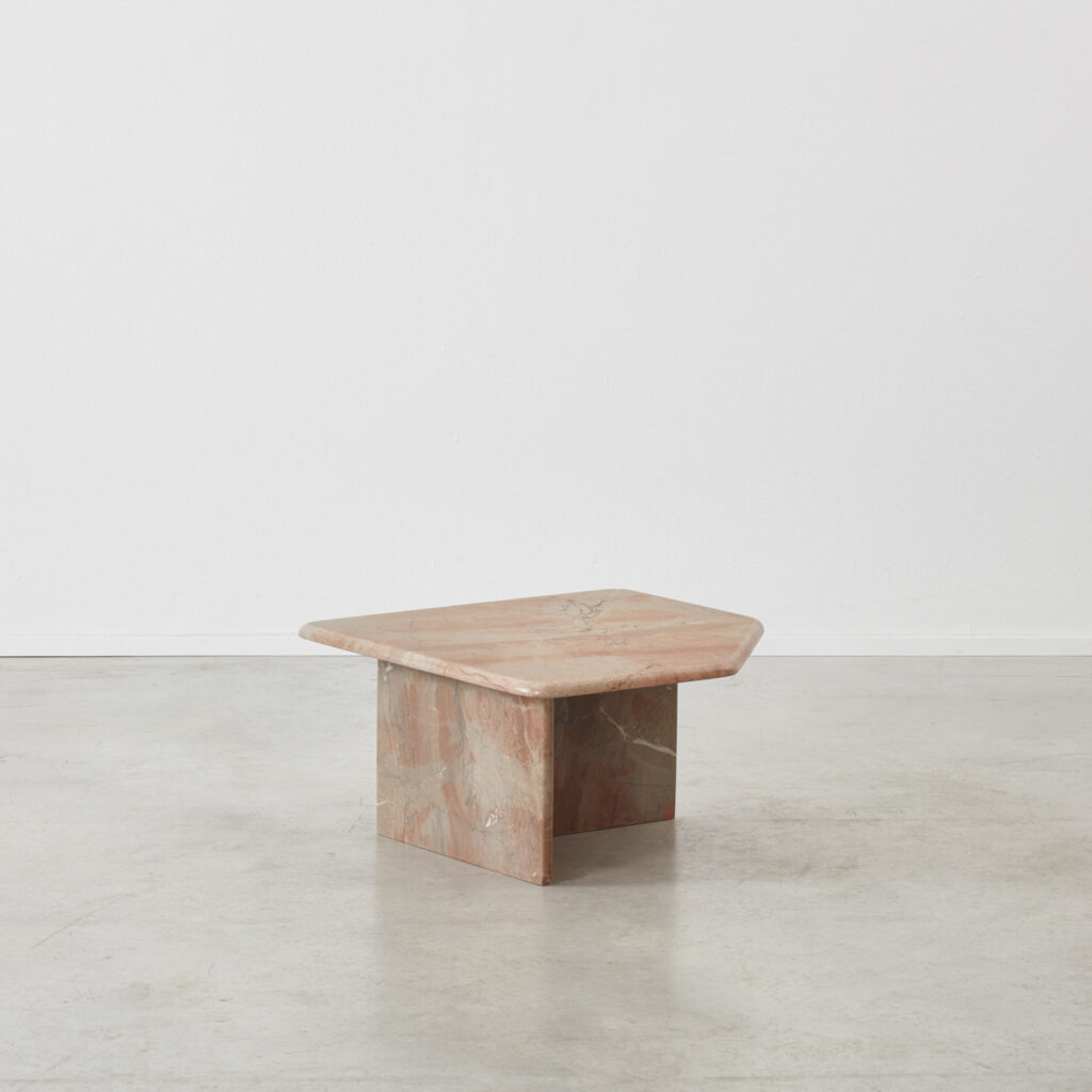 Blush coloured marble table
