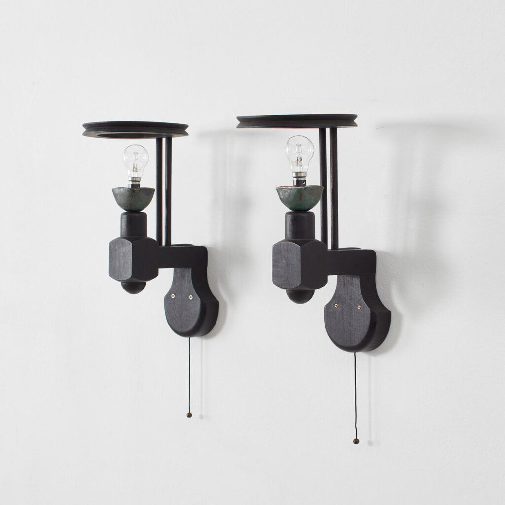 Guillerme and Chambron ebonised sconces