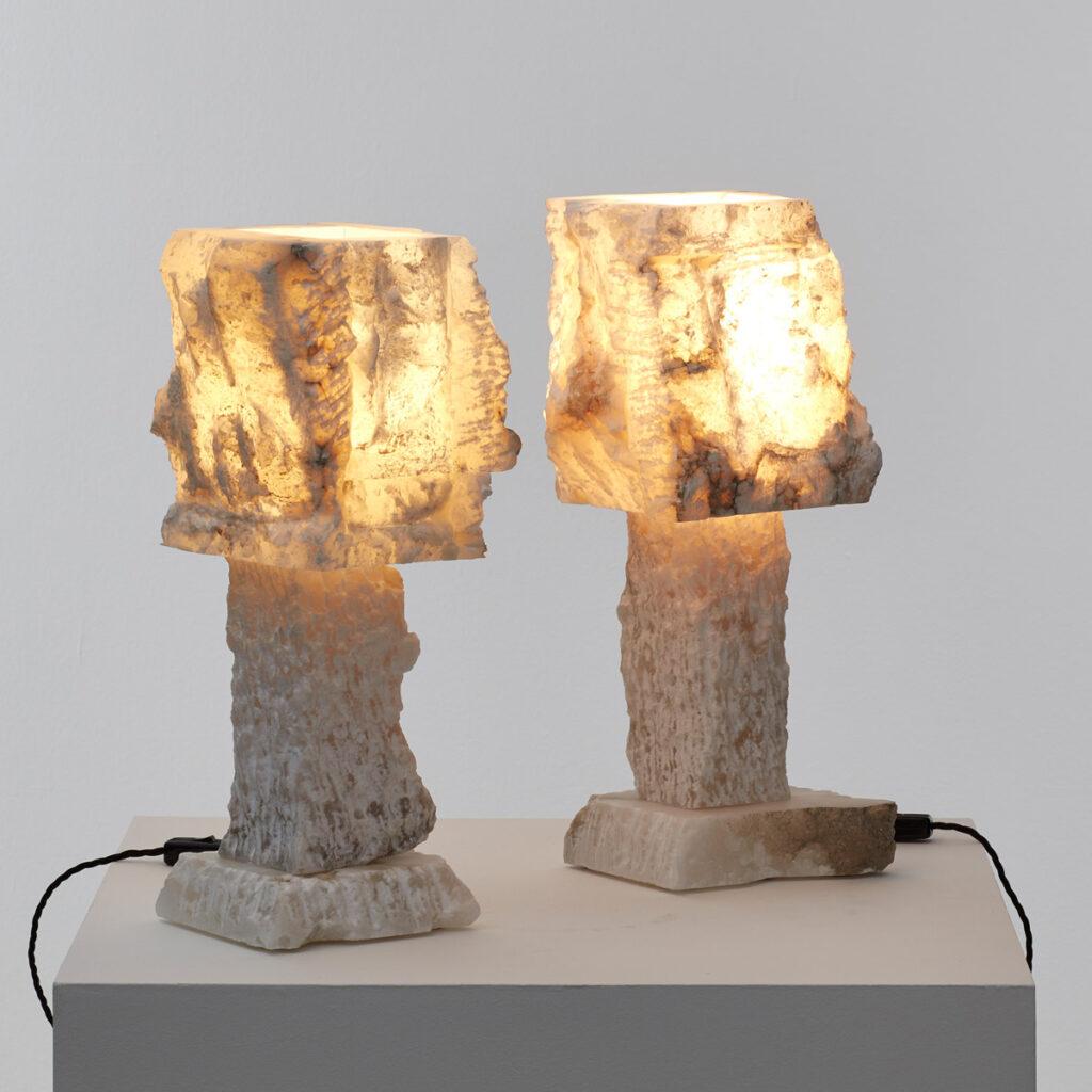 Pair rough hewn alabaster lamps