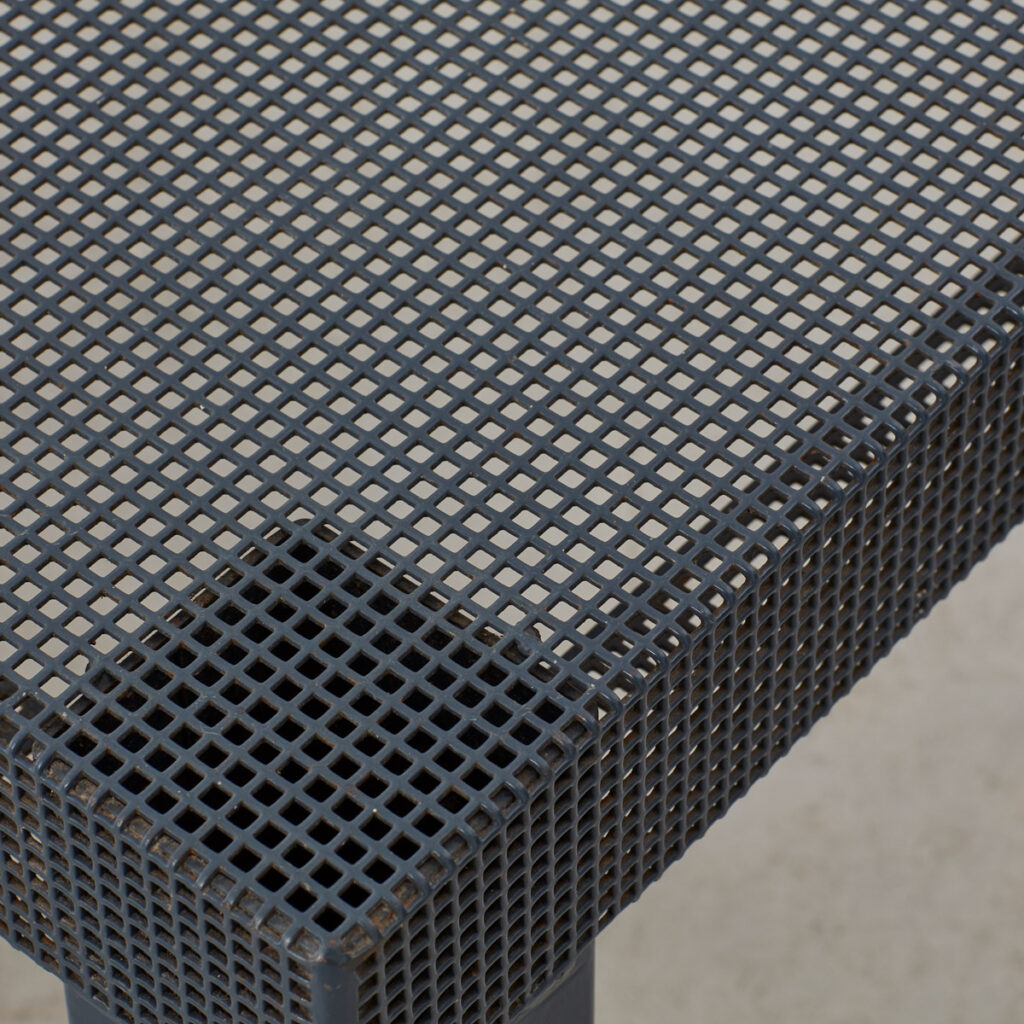 Navy perforated metal table