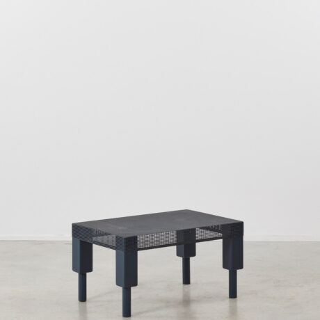 Postmodern blue metal table