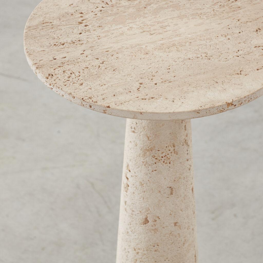 Travertine pedestal table