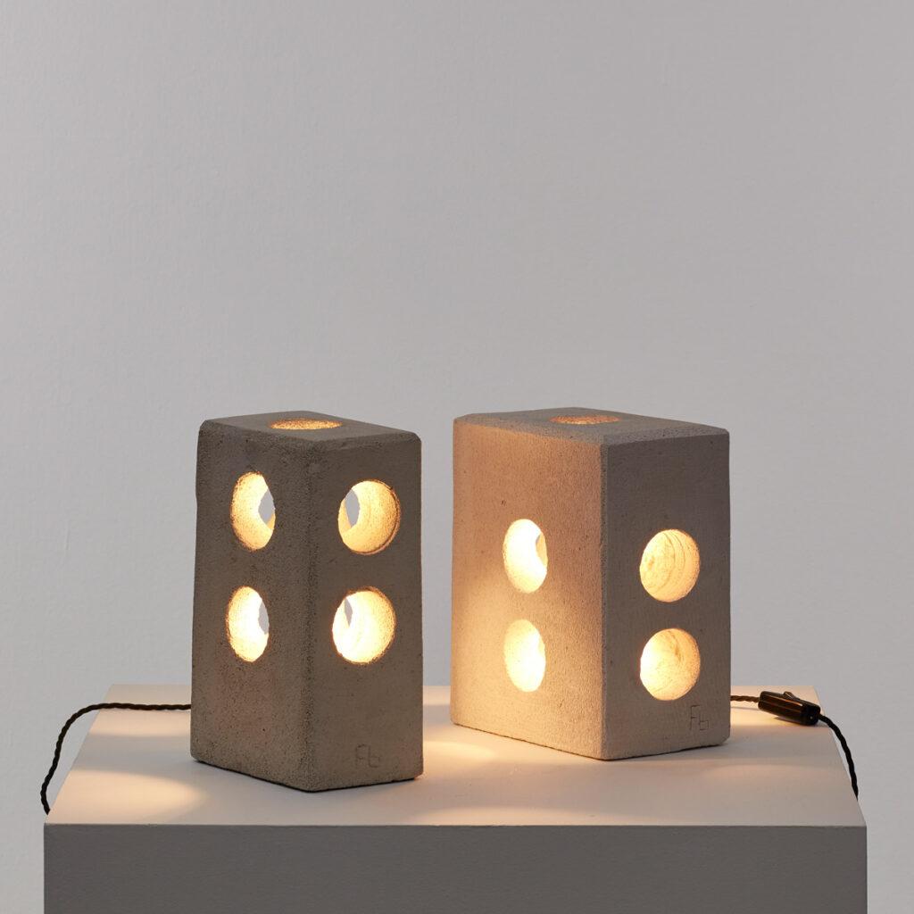 Pair sculptural concrete table lamps