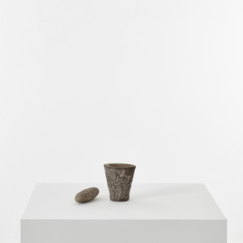 Naive stone mortar and pestle