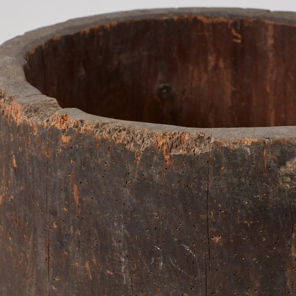 Ancient rustic wooden planter