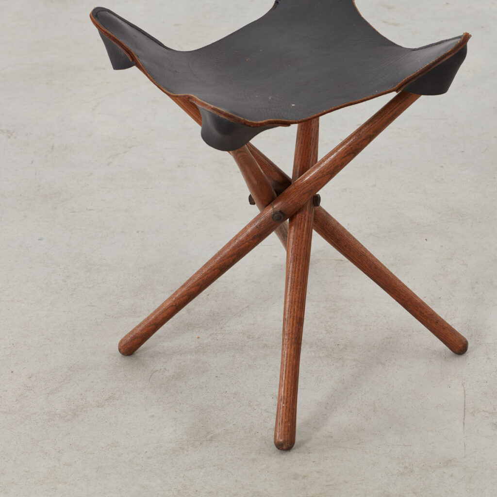 Leather fold out travel stool
