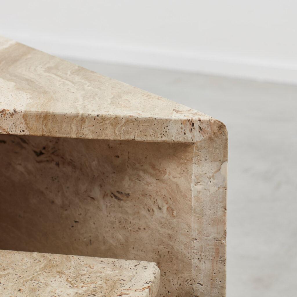 Travertine triangle duo coffee table