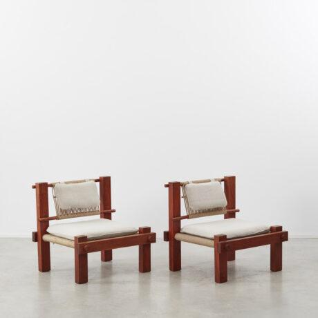 Pair constructivist rope armchairs