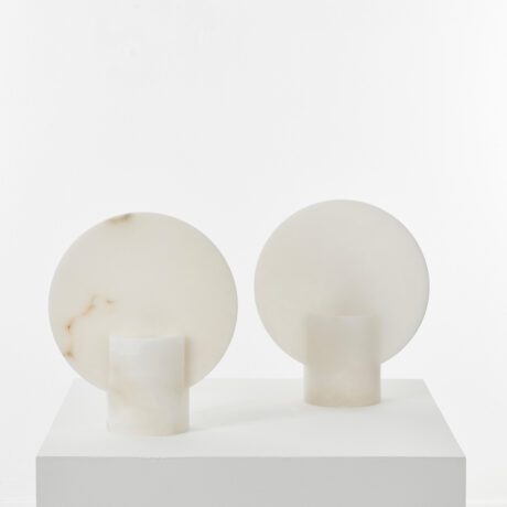 Pair Alabaster disk table lamps