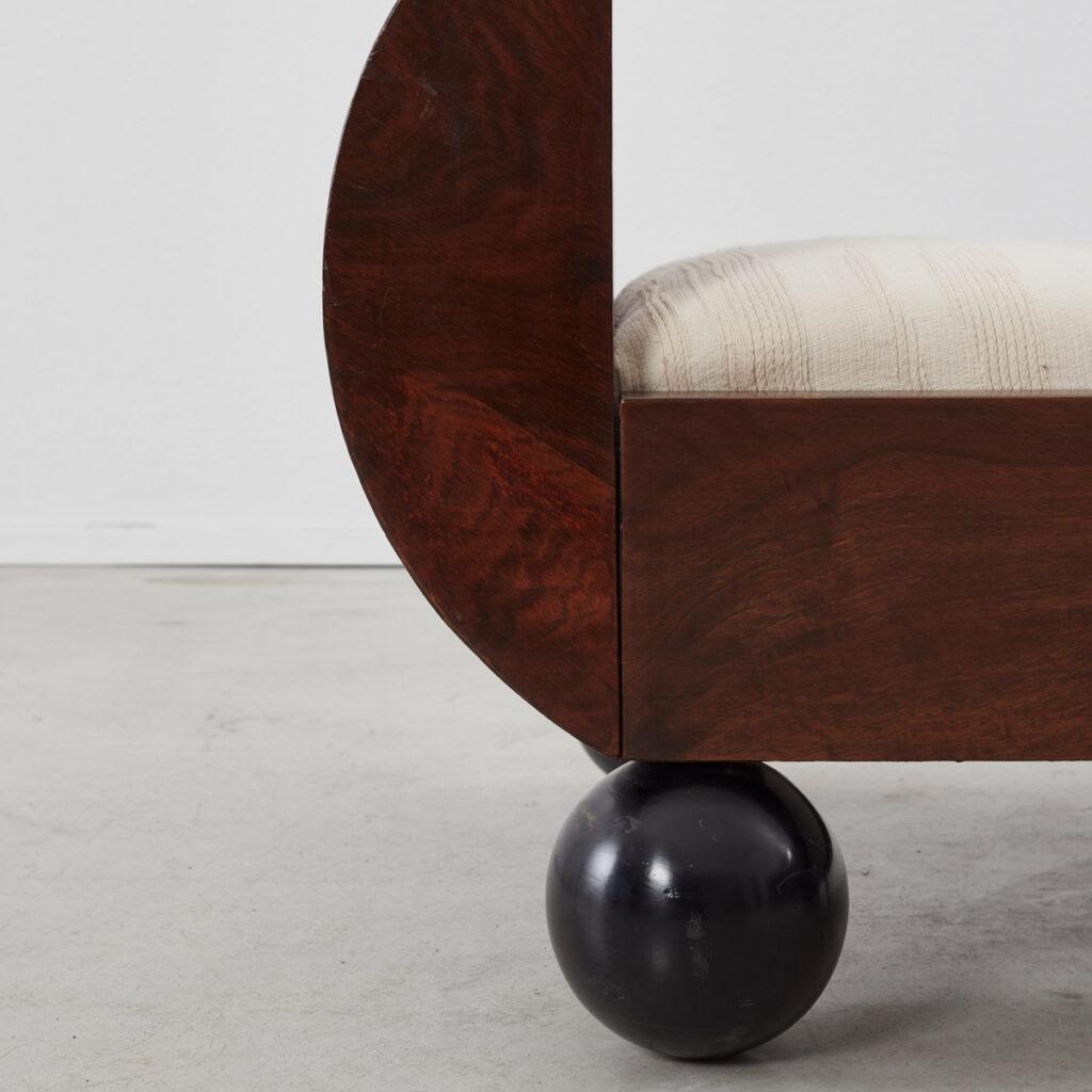 Art Deco bench with ball feet