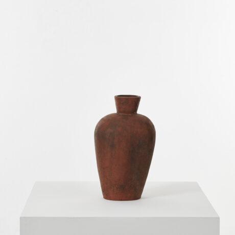 Studio pottery vase in terracotta
