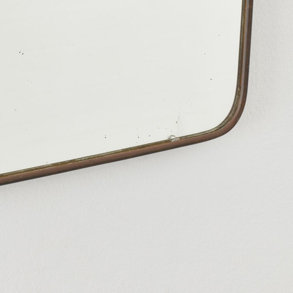 Ponti-style brass wall mirror