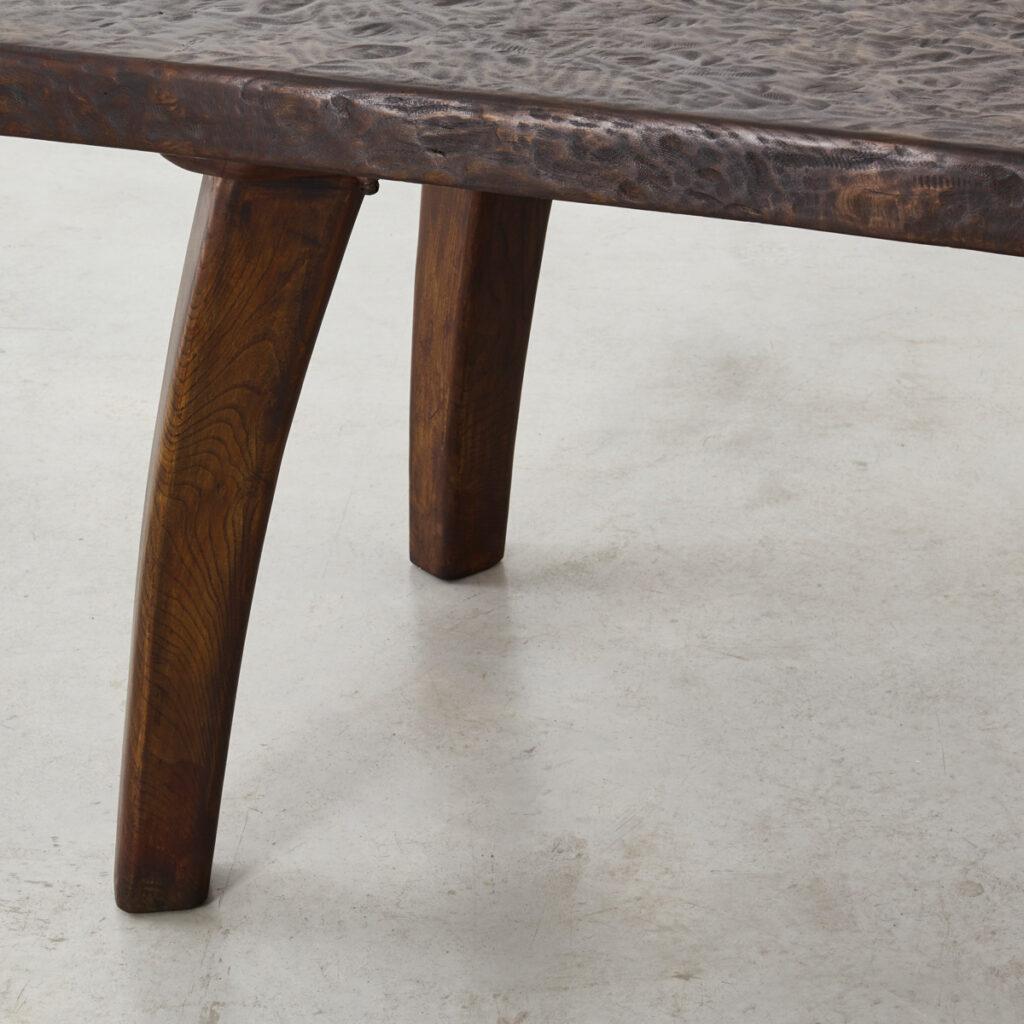 Brutalist oak dining table
