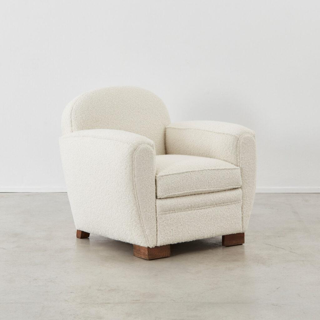 Pair bouclé club armchairs