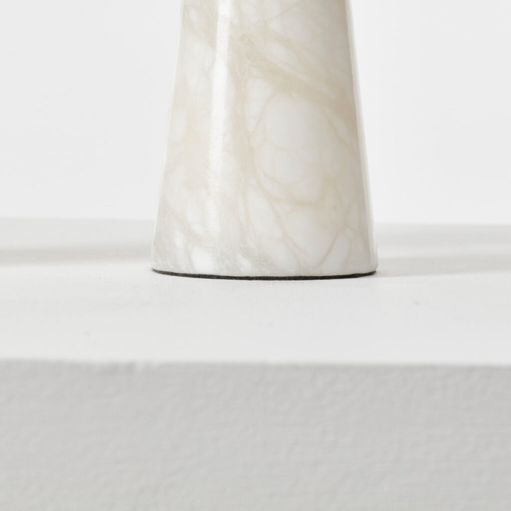 Pair alabaster conical lamps