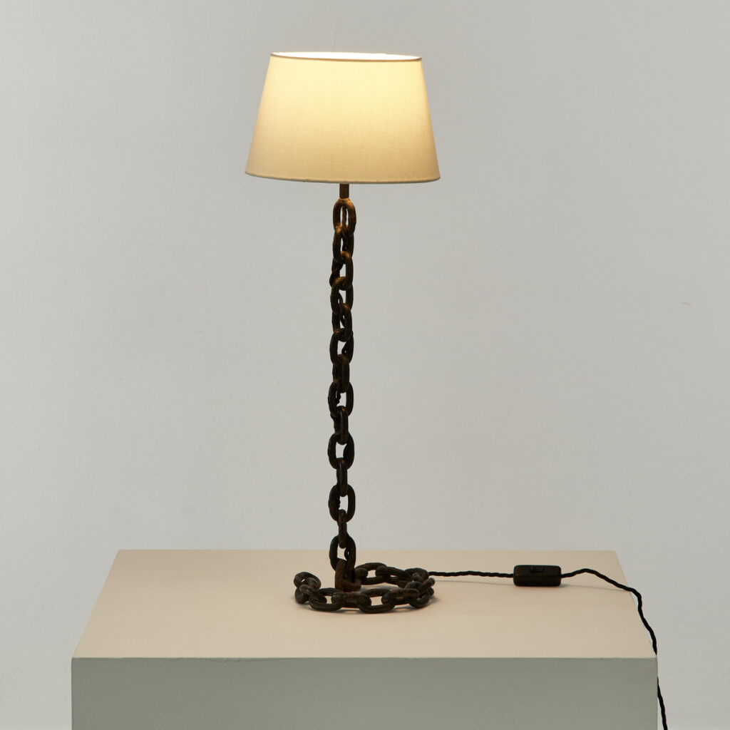 Midcentury chain-link table lamp