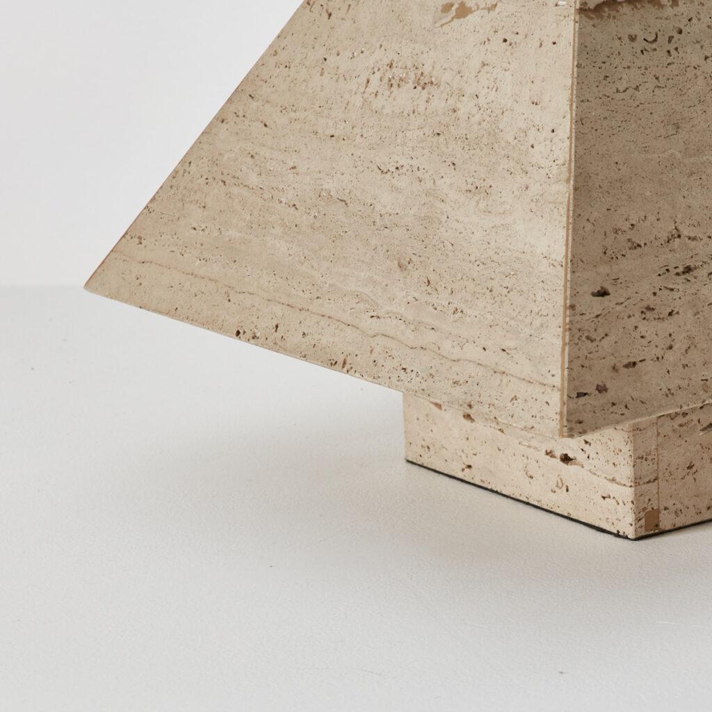 Travertine pyramid table lamp